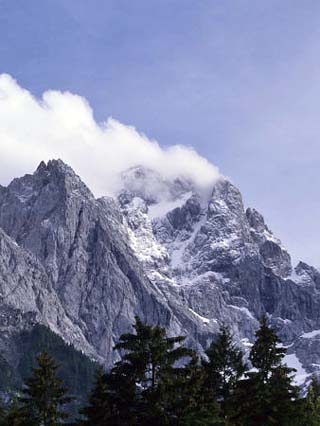 The Highest Mountain in Germany,Der Zugspitze,Peak Shrouded in Fog, Garmisch Partenkirchen, Germany