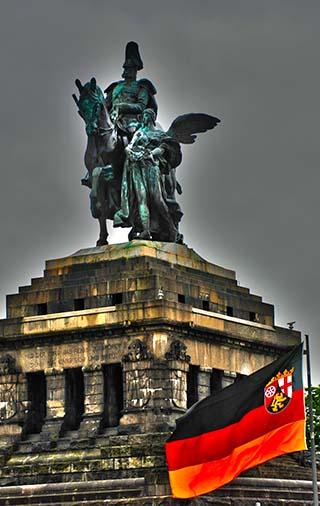 river front statue koblenz germany
