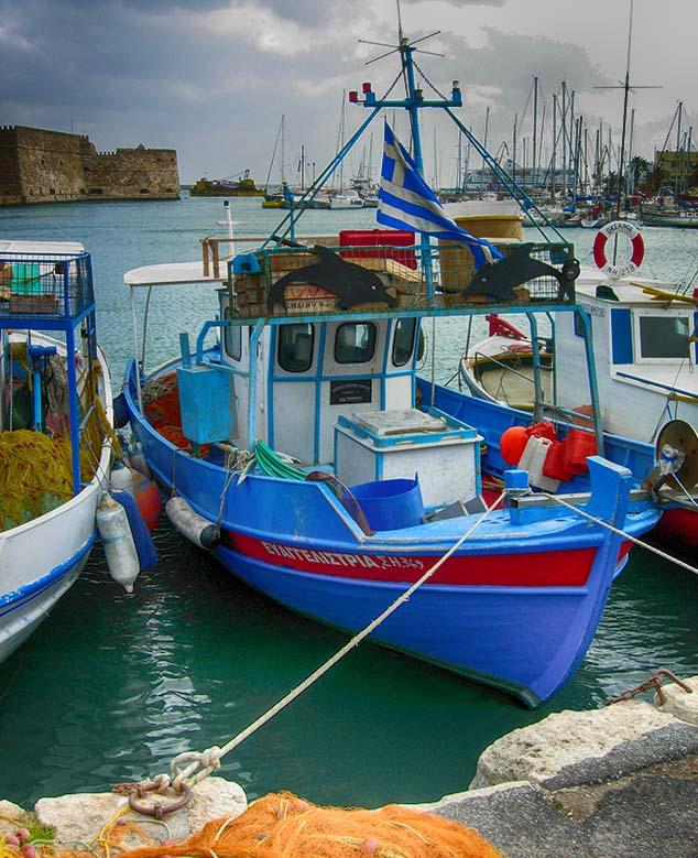 blue boat greece
