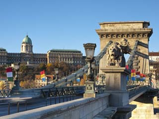 Chain Bridge and Royal Palace on Castle Hill, Budapest, Hungary