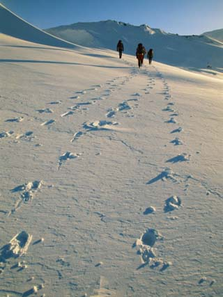 Hiking Across the Snow-Swept Volcanic Landscape of Iceland Near Glymsgil