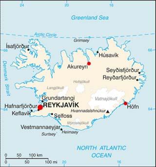 Iceland latitude and longitude map