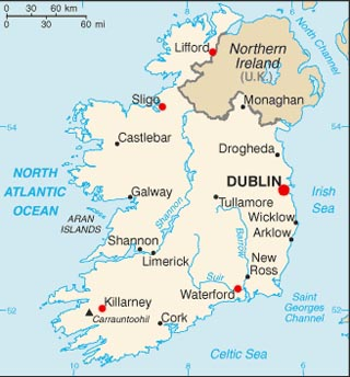 Ireland latitude and longitude map