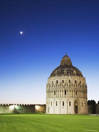 The Baptistery with Evening Moon in the Piazza Dei Miracoli, Pisa, Italy