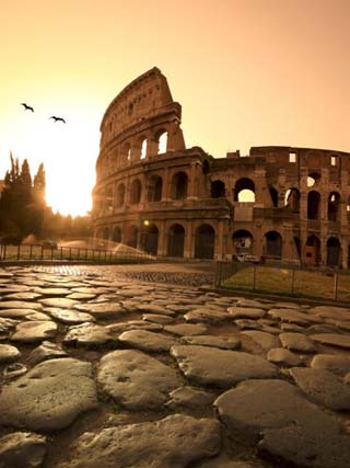 Colosseum and Via Sacra, Sunrise, Rome, Italy