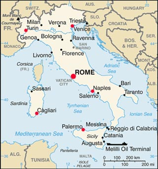 Italy latitude and longitude map