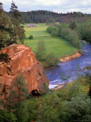 Blue Amata River Snakes through Zvartas Valley, Gauja National Park, Latvia