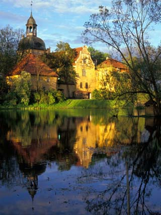 Sunset on Straupe Castle and Reflection Pond, Gauja National Park, Latvia