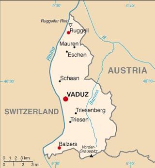 Liechtenstein latitude and longitude map