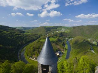 Chateau De Bourscheid Castle, Bourscheid, Sure River Valley, Luxembourg