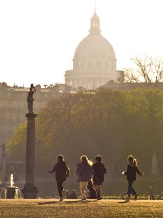 Students Running Through Jardin Du Luxembourg, Pantheon in Distance