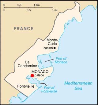 Monaco latitude and longitude map