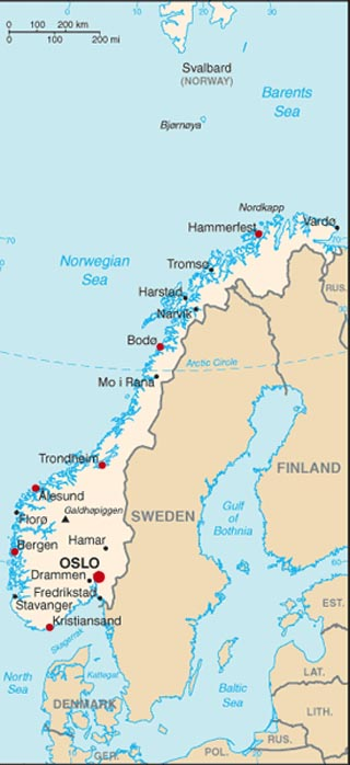 latitudes and longitudes. Norway latitude and longitude