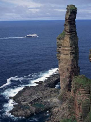 Old Man of Hoy, Sandstone Sea Stack 137M High, with Ferry in Background, Orkney Islands