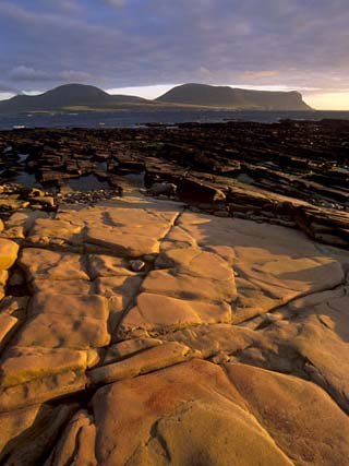 Red Sandstone Shore, Hoy Island and Hoy Sound from Mainland, Orkney Islands, Scotland, UK