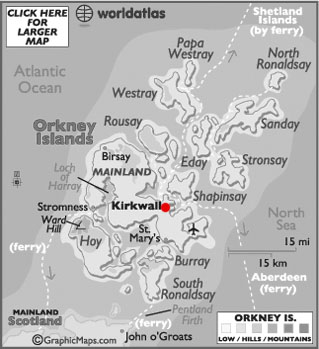 Orkney Islands latitude and longitude map