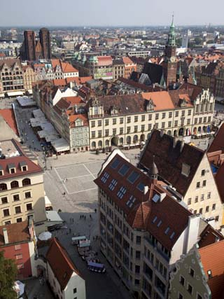Market Square from St. Elisabeth Church, Old Town, Wroclaw, Silesia, Poland, Europe