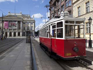 City Tram and Opera House, Old Town, Wroclaw, Silesia, Poland, Europe