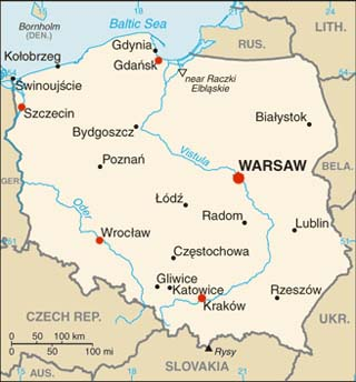 Poland latitude and longitude map