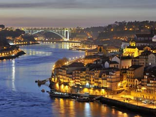 Oporto, Ribeira, UNESCO World Heritage Site at Dusk, Portugal