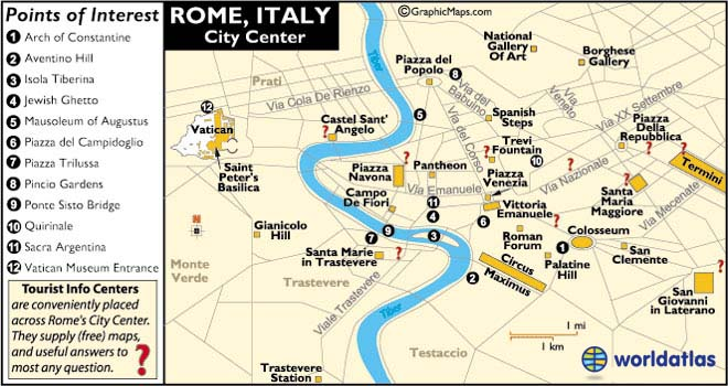 Rome Italy Map and Map of Rome Information Page – Map Of Rome Showing Tourist Attractions