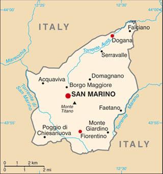 San Marino latitude and longitude map