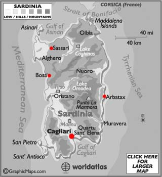Sardinia latitude and longitude map