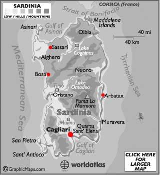 Sardinia latitude and longitude map
