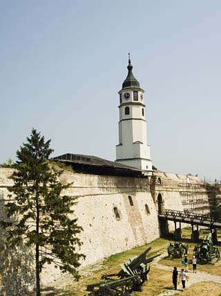 Clock Tower and Modern Military Cannon in the Grounds of the Kalemegdan Citadel, Belgrade, Serbia
