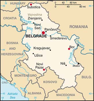 Serbia latitude and longitude map
