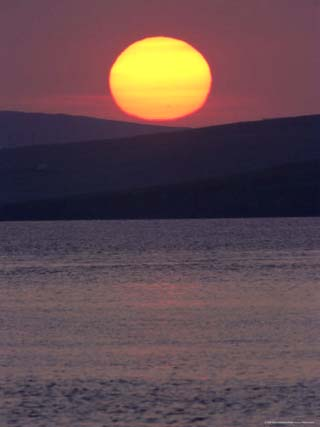 Sunset Over Colgrave Sound, Fetlar, Shetland Islands, Scotland, United Kingdom, Europe