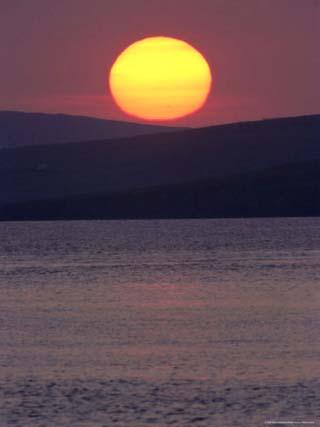 Sunset Over Colgrave Sound, Fetlar, Shetland Islands, Scotland, United Kingdom, Europe