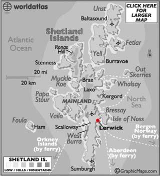 Shetland Islands latitude and longitude map
