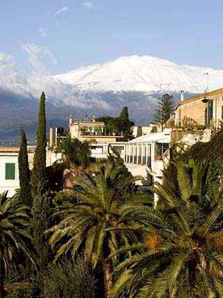 Mount Etna Volcano from Taormina, Sicily, Italy, Europe