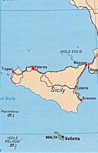 Sicily latitude and longitude map