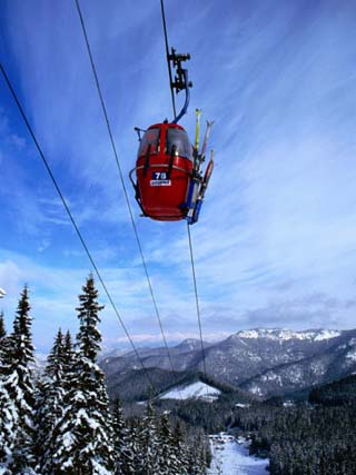 Red Cable-Car on Otupune Run, Jasna Resort. Jasna, Slovakia