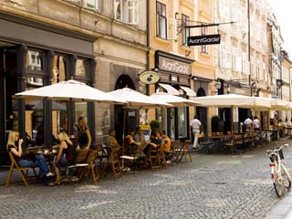 Pavement Cafe on the Stari Trg, Ljubljana, Slovenia, Europe