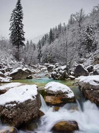 Soca River in Winter, Soca, Triglav National Park, Julian Alps, Slovenia, Europe