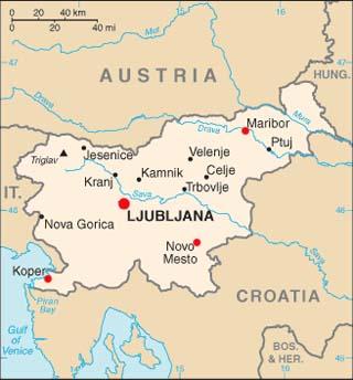 Slovenia latitude and longitude map