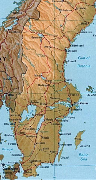 sweden maps including outline and topographical maps