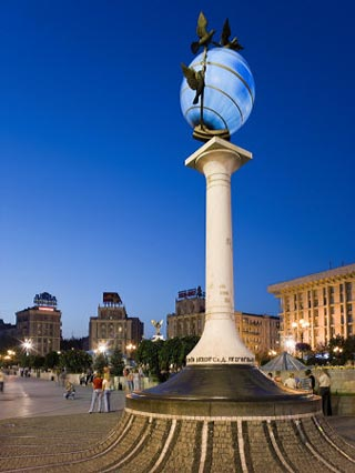 Illuminated World Globe in Maidan Nezalezhnosti, Kiev, Ukraine