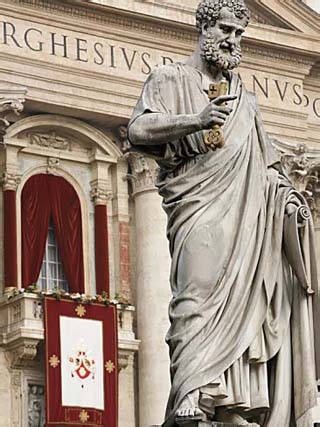 Pope's Balcony and Statue of St. Peter Outside St Peter's Basilica, Vatican, Rome, Lazio