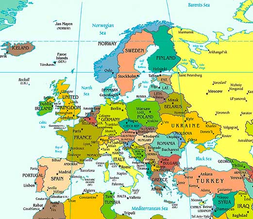 Europe map map of europe facts geography history of europe europe political map gumiabroncs Choice Image
