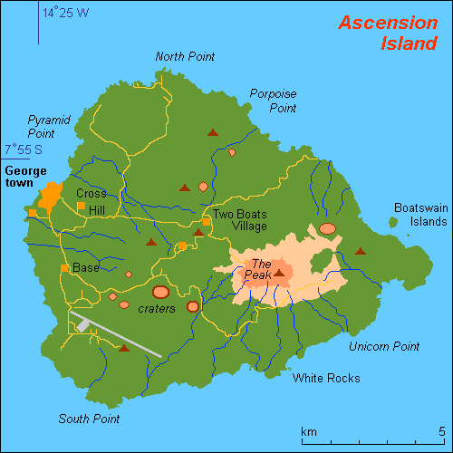 Map Of Ascension Island And Information Page - Islands map