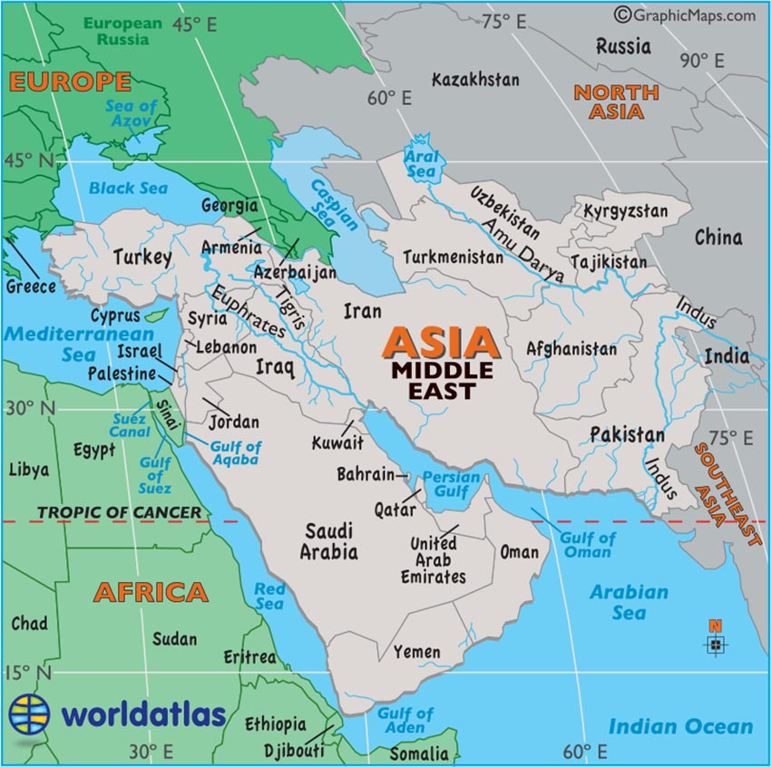 Large Map Of Middle East Easy To Read And Printable - Simple map of eastern us