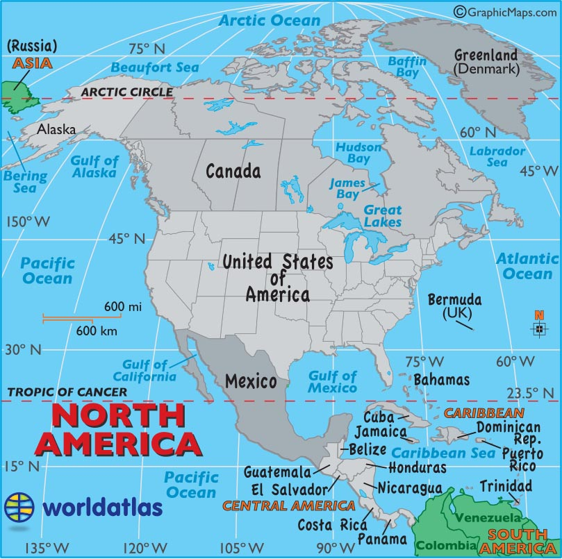 Large Map of North America Easy to Read and Printable
