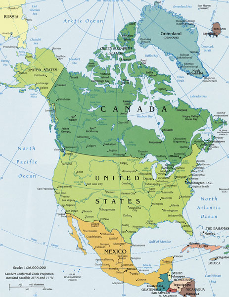 north america political map