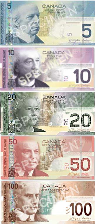 canada currency bills