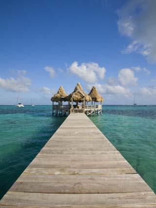 Belize, Ambergris Caye, San Pedro, Ramons Village Resort Pier and Palapa