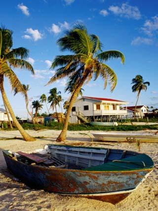 Skiff on Coral Beach Sand, Belize